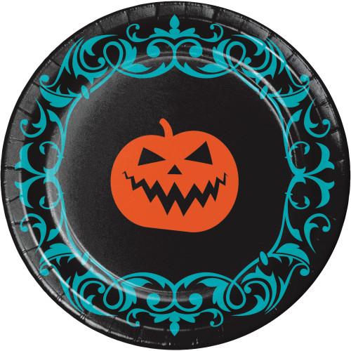 "Jack O'Lantern 8 Ct 9"" Lunch Dinner Plates Halloween Symbols"