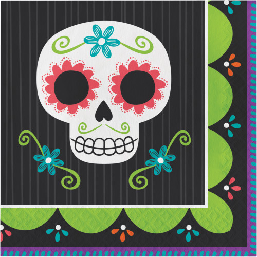 Halloween Day of the Dead Skull 16 Ct Lunch Napkins