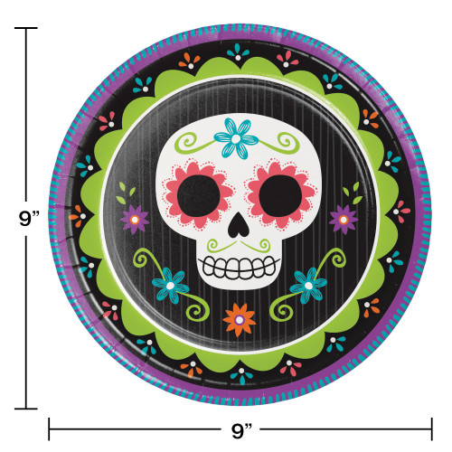 """Day of the Dead Skull 8 Ct 9"""" Lunch Dinner Plates Halloween"""
