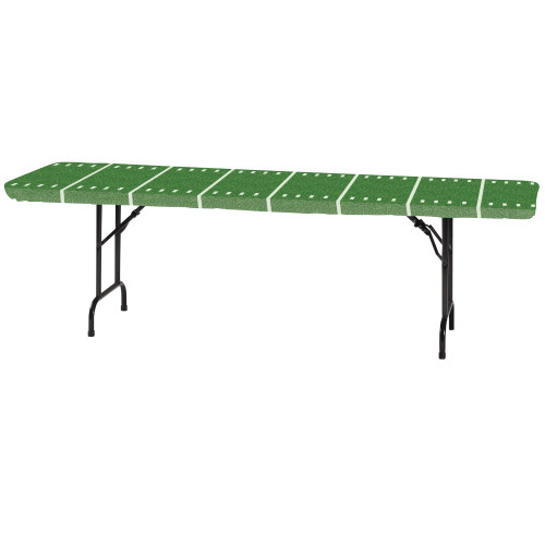 """Stay Put Green Football Field Plastic Tablecover 29"""" x 72"""" Banquet Wind Proof Stayput"""