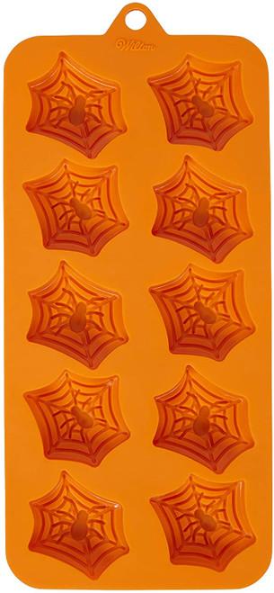 Spiderweb Spider Silicone Candy Mold Wilton 12 Cavities Orange