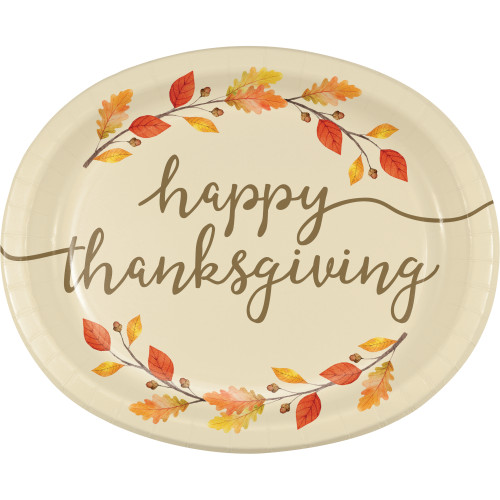 Thankful Thanksgiving 8 Ct 10 x 12 inch Oval Banquet Platters Plates