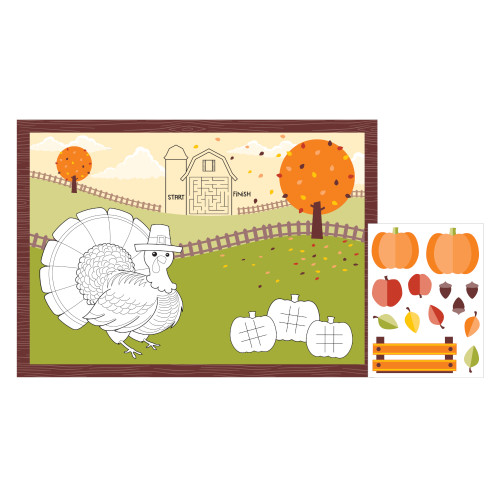 Thanksgiving Fall Party Placemat Fun Kids Activity Kit Stickers 8 Ct