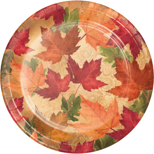 "Autumn's Elegance 45 Ct 7"" Dessert Plates Value Pack Fall Leaves"
