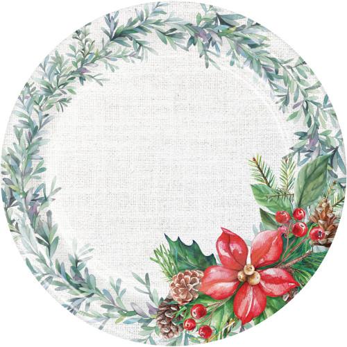 "Nature's Gift 45 Ct 7"" Dessert Plates Value Pack Winter Poinsettia"