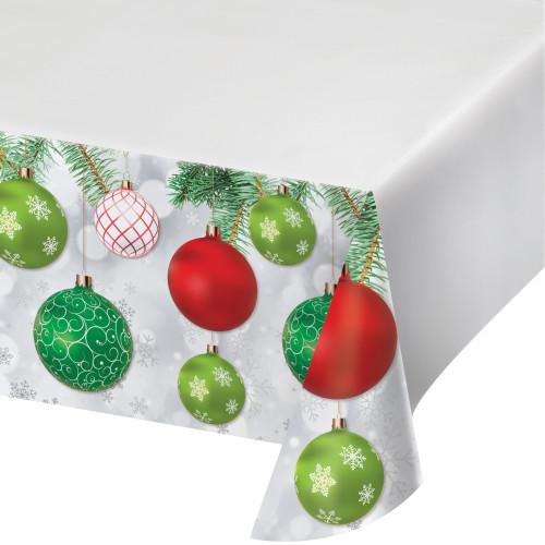 "Upscale Ornaments 54 x 102"" Border Print Plastic Tablecover Christmas"