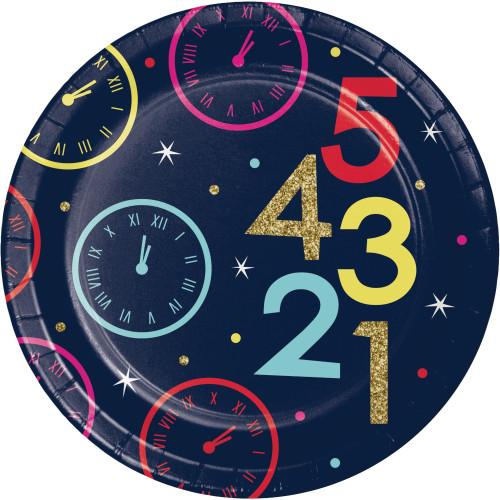"New Years Eve Countdown 8 Ct 7"" Dessert Cake Plates"