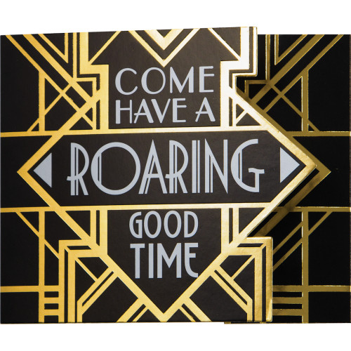 Art Deco New Years Eve Invitations 8 Ct Roaring 20's Invitations, Foil stamped