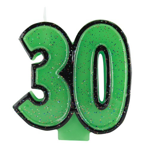30th Birthday Green Glitter Numeral Candle 30