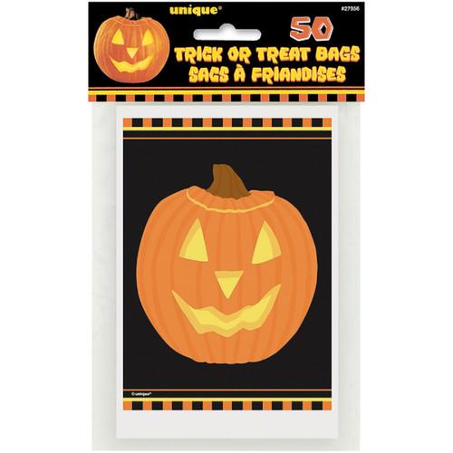 Jack O'Lantern Pumpkin Glow Treat Bags 4 x 6 in 50 ct