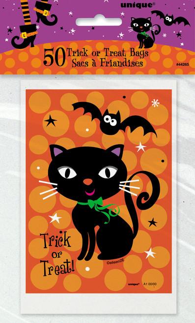 Spooky Boots Black Cat Bat Treat Bags 4 x 6 in 50 ct