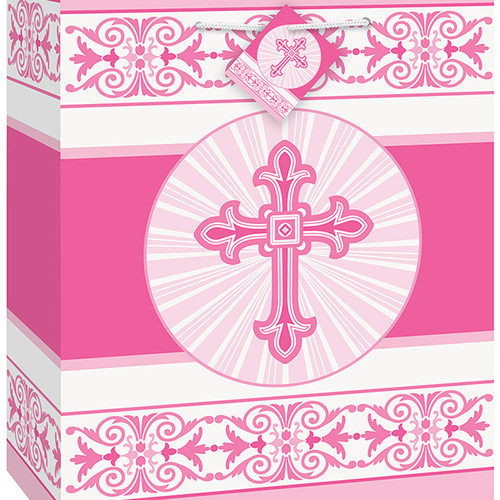 Radiant Cross Pink Gift Bag with Tag 9 x 7 inch