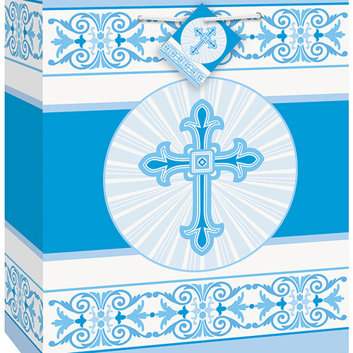 Radiant Cross Blue Gift Bag with Tag 9 x 7 inch