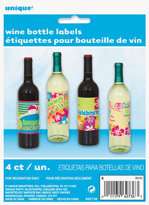 Summer Fun Wine Bottle Beverage Labels 4 Ct Luau Pool Party