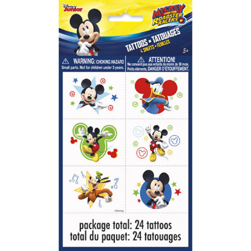 Mickey Roadster Temporary Tattoos 24 Ct on 4 Sheets