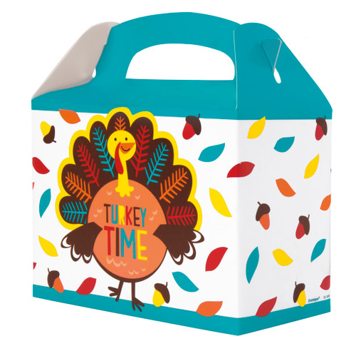 Cartoon Turkey Thanksgiving Foldable Paper 4 Ct Take Home Boxes