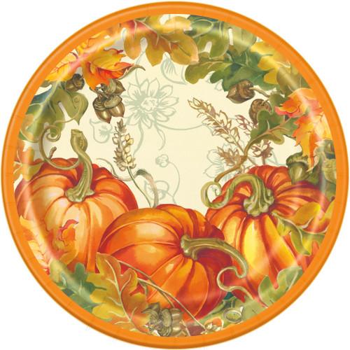 Traditional Thanksgiving Turkey Pumpkin 8 Ct 7 in Dessert Cake Plates