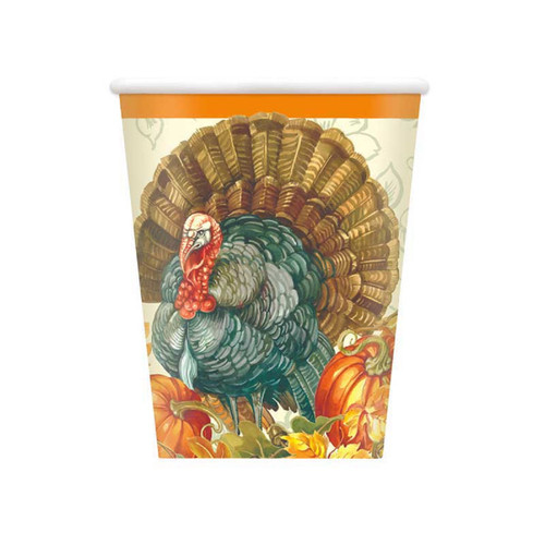 Traditional Thanksgiving Turkey 8 Ct  9 oz Paper Hot Cold Cups