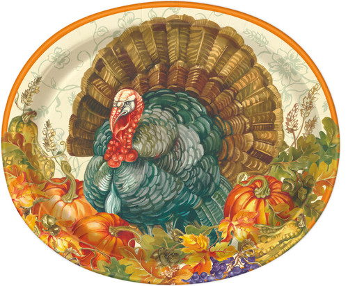 "Traditional Thanksgiving Turkey Paper 8 Ct 10 x 12"" Oval Banquet Plates Platters"