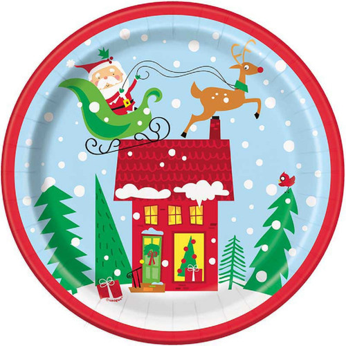 Colorful Santa 8 Ct  9 in Paper Lunch Plates