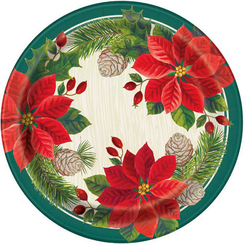"""Red Green Poinsettia Christmas 8 Ct Paper 9"""" Luncheon Plates"""