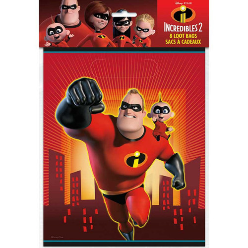 Incredibles Party Favor Loot Bags 8 ct