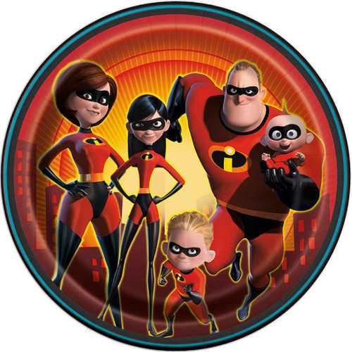 """Incredibles Party 8 Ct Paper 9"""" Luncheon Plates"""