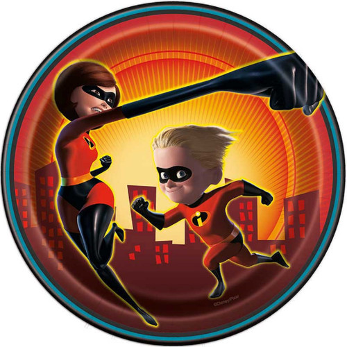 """Incredibles Party 8 Ct Paper 7"""" Dessert Cake Plates"""