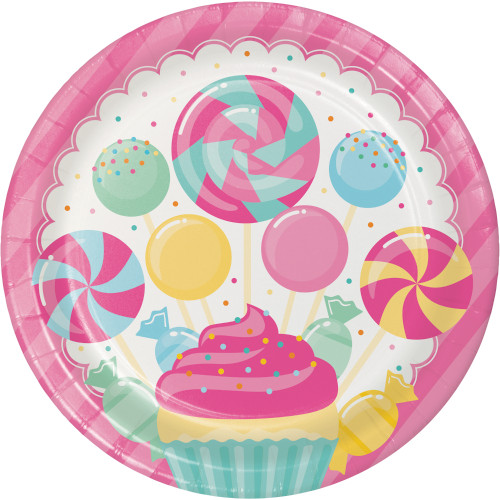 """Candy Bouquet Birthday 8 Ct 9"""" Lunch Plates"""