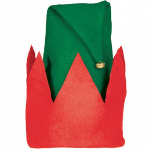 """Child's Felt Elf Hat 13"""" x 11"""" Red Green"""