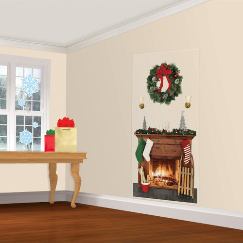 Holiday Fireplace Scene Setters Add-ons Wall Decoration Christmas