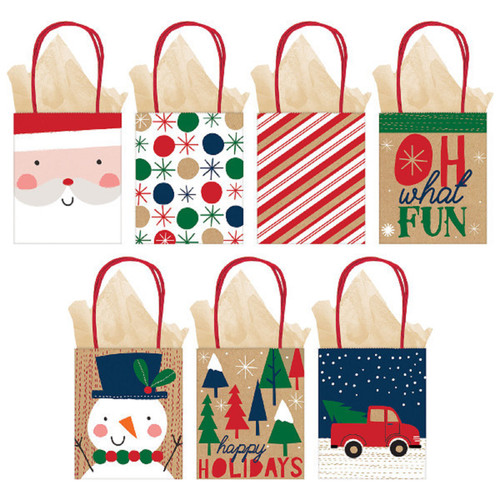 Oh What Fun 7 Small Bags Christmas Jewelry Gift Bag Value Pack with Tags