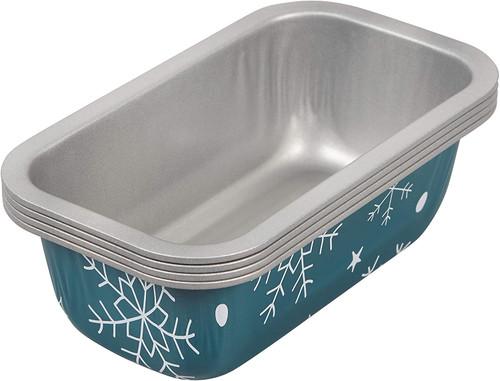 Wilton 4 Pc Holiday Mini Loaf Pan Set  Non Stick Tin Steel Snowflake Blue