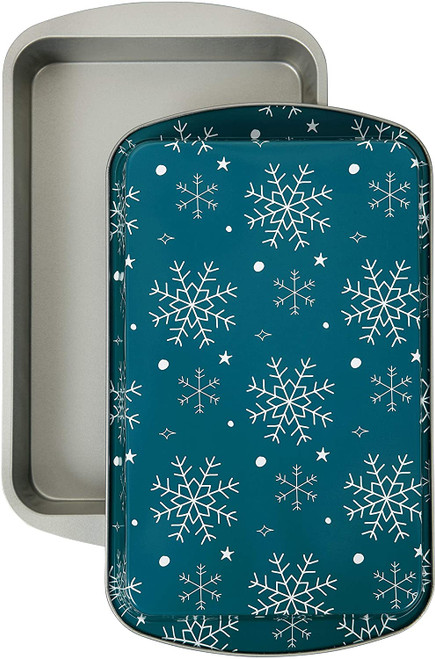 Wilton 2 Pc 11 x 7 Oblong Pan Set Tin Steel Blue Snowflake Christmas