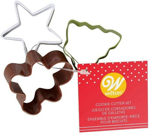 Wilton MINI Colorful Cookie Cutter Set 3 pc Christmas Tree, Star, Gingerbread Man