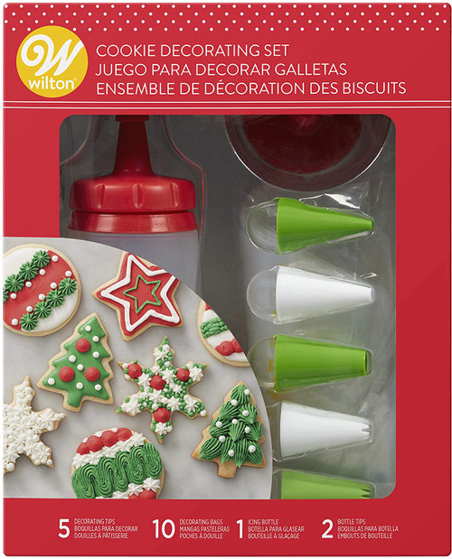 Wilton 18 pc Cookie Decorating Set With Bottle, 7 Tips, 10 Bags