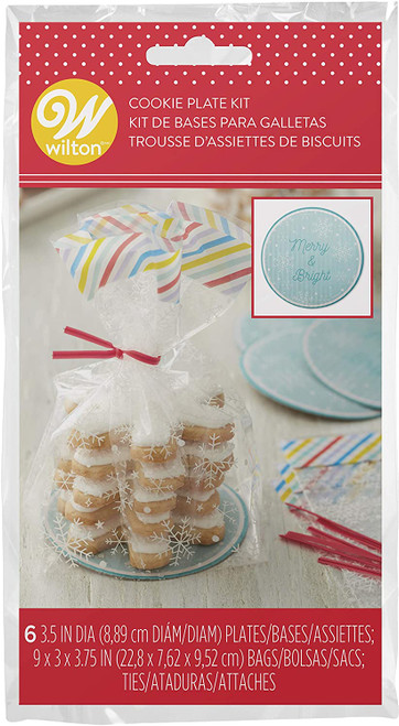 Snowflake Gift Kit 6 Ct Bags, Plates, and Ties for Treats, Apples, Cupcakes