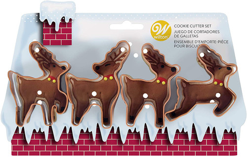 Wilton Reindeer Christmas Brown Metal Cookie Cutter Set 4 pc