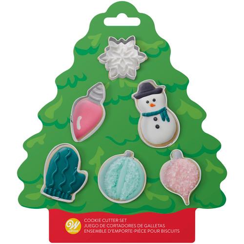 Wilton MINI Tree Cookie Cutter Set 6 pc Ornaments Snowman Snow Mitten