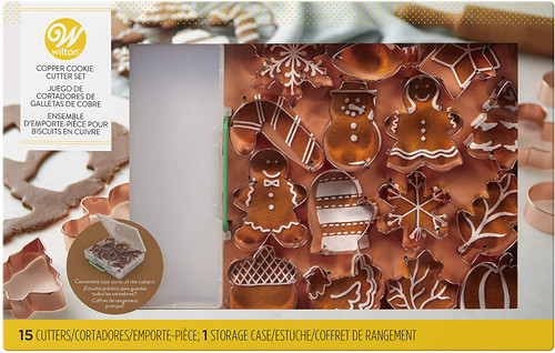 Copper Cookie Cutter Gift Set with Case 16 Pc Wilton