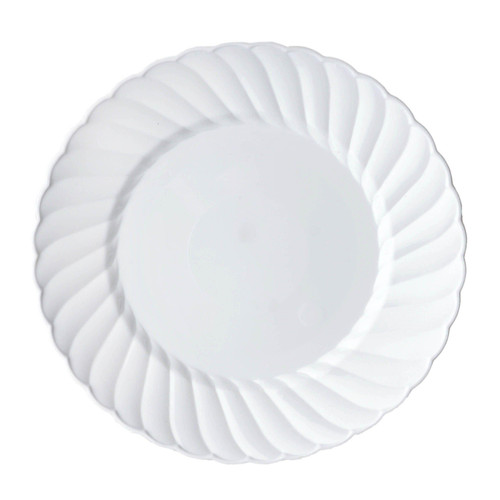 """Chambury Casa 12 ct White Swirl Plastic 6"""" Dessert Cake Plates"""