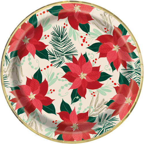 "Red and Gold Poinsettia 8 Ct Paper Foil Luncheon Dinner 9"" Plates Christmas"