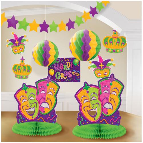 Mardi Gras Party 10 pc Decorating Kit Garland, Centerpieces, Cutouts