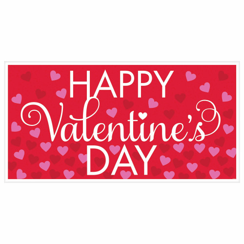 Happy Valentines Day Banner Plastic 65 x 33 inches Red Pink Hearts