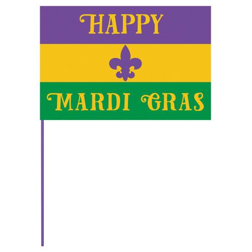 Happy Mardi Gras Stick Flag  12 x 18 inches