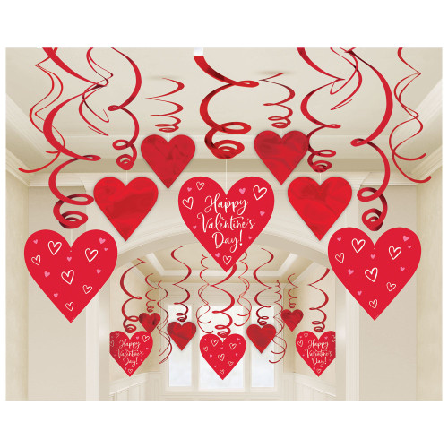 Happy Valentines Day Red Hearts Mega Value 30 Ct Hanging Swirls