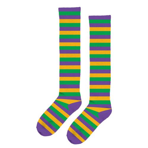 Mardi Gras Striped Knee Socks Purple Green Yellow One Size