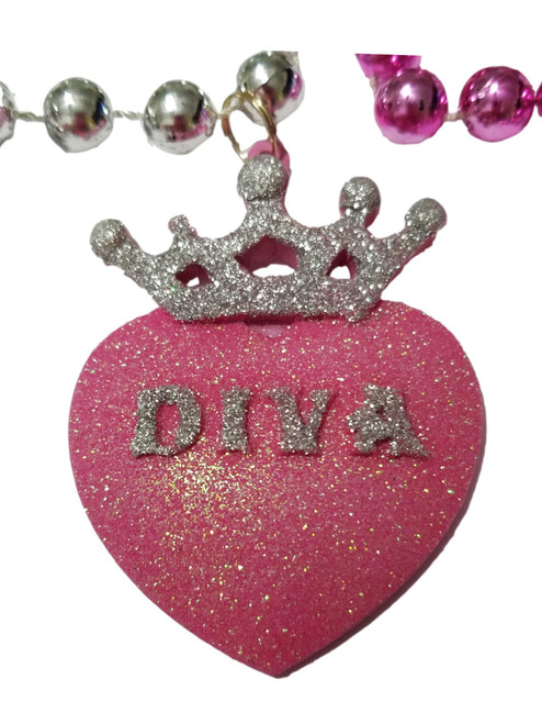 Diva Heart Crown Pink Silver Mardi Gras Beads Party Favor