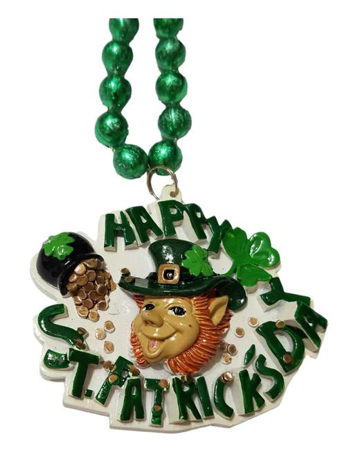 Leprechaun Happy St Patrick's Day Mardi Gras Green Bead Necklace