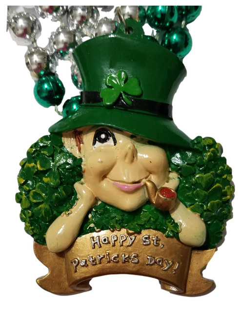 Leprechaun Pipe Hat Happy St Patrick's Day Mardi Gras Green Bead Necklace